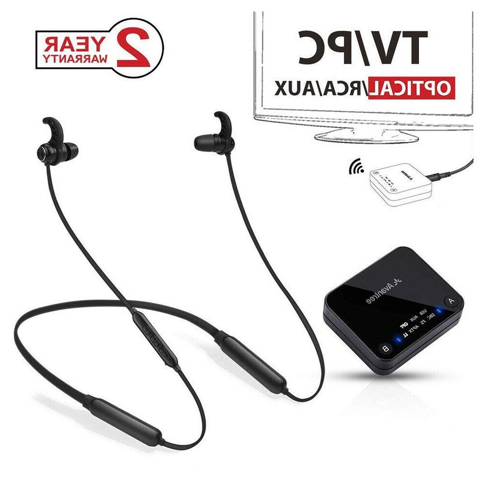 wireless neckband headphones earbuds set for tv