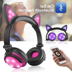 LED Light Up Cat Ear Bluetooth Headphone Audio Wireless Earp