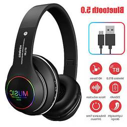 Wireless Bluetooth 5.0 Headphones Over Ear Foldable Noise Ca