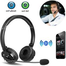 Wireless Bluetooth Noise Canceling Headset Headphone w/ Mic