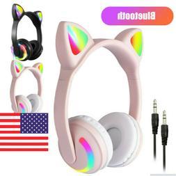 Bluetooth Wireless Cat Rabbit Ear Headsets LED Lights Headph